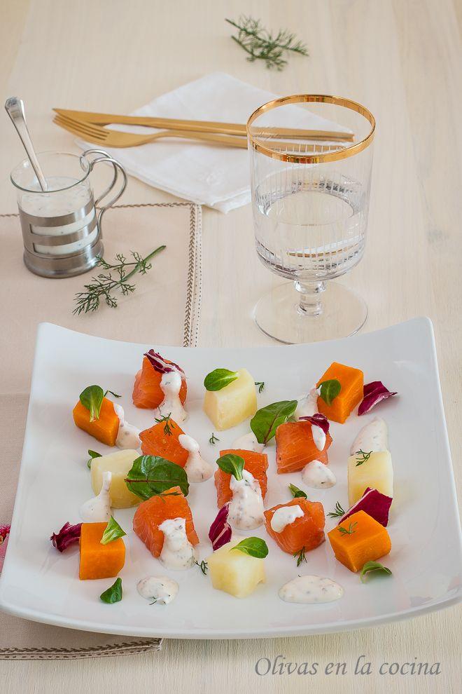 Olivas en la cocina: Ensalada de patatas y salmón marinado