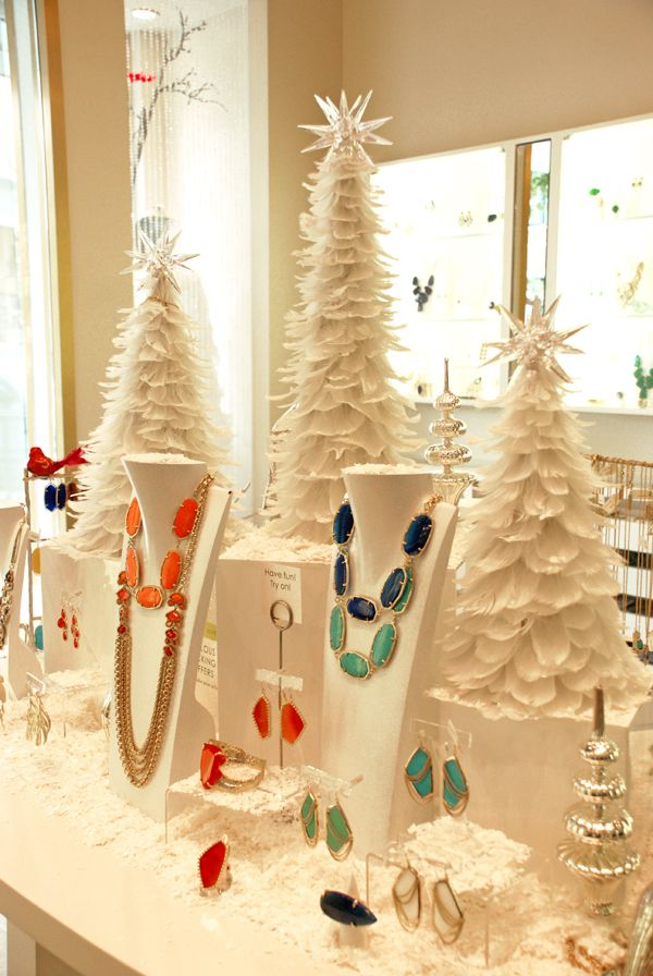 Great jewelry display - just substitue the white trees for green ones to make it an all season display