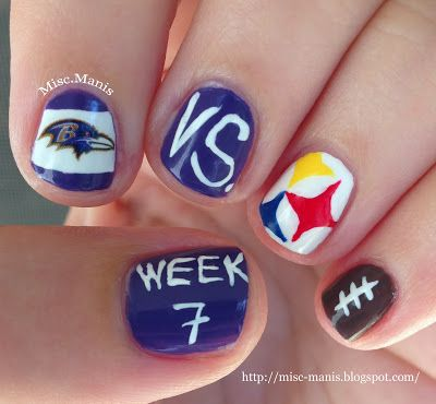 Miscellaneous Manicures: Baltimore Ravens Nails - Week 7 - Ravens vs. Pittsburgh Steelers