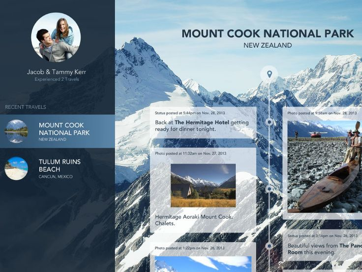 Web app for vacations and travels to share experiences, memories and photos.  View full image in attachment here