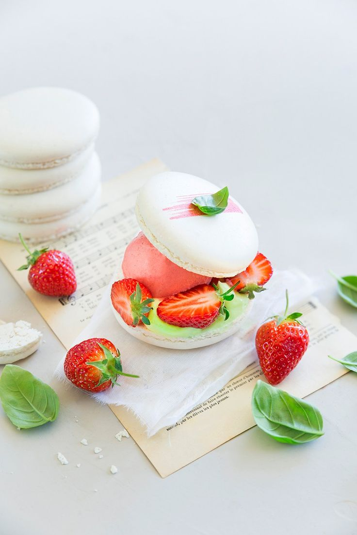 Strawberry and basil ice cream dessert
