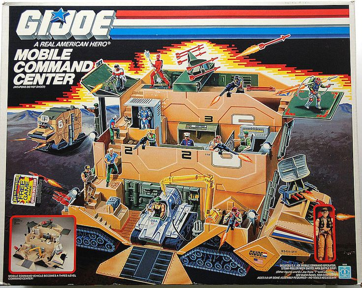 "The box art for the 1987 Mobile Command Center vehicle / playset, with ""Steam-Roller"" action figure, from the ""G.I.Joe"" line of toys"