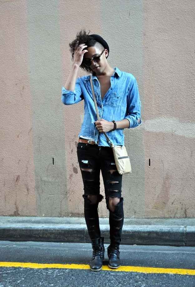 Love the hair and ripped skinny jeans.