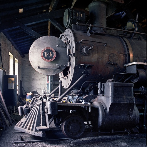 "Steam train, open boiler. ~ I was a ""stationary engineer"" in large factory power plants when I was a young man in my early 20's.  I love trains especially those powered by boilers!"