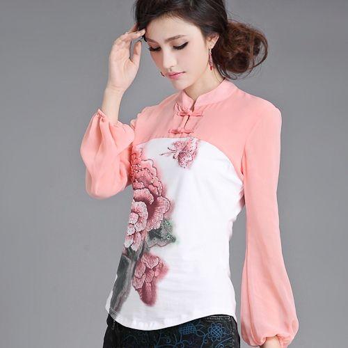 Disfraces Cosplay mujeres rosa mosaico blanco blusa floral ranas tradicionales chinos antiguos de manga larga camisa de la impresión del collar del soporte