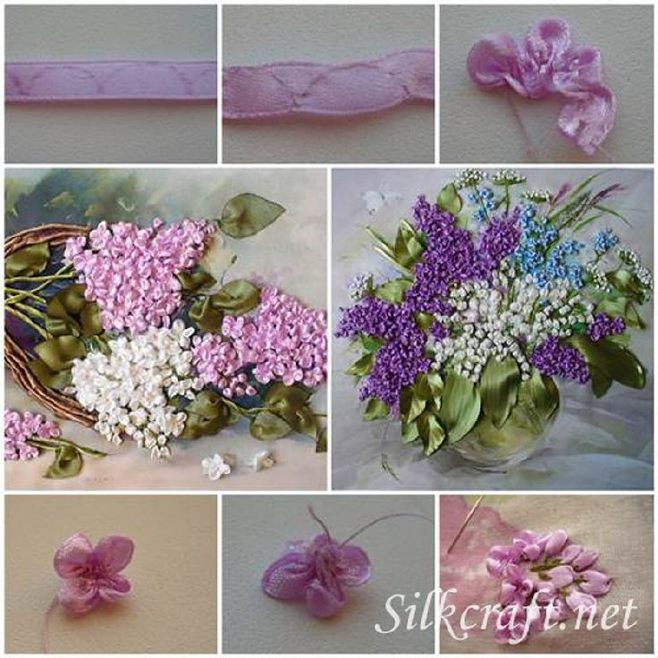 105 best bordado com fita images on pinterest ribbon flower how to make embroidery ribbon lilac flowers mightylinksfo