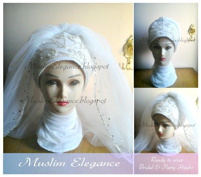 Ready to wear Bridal hijab by Muslim Elegance other colors by request