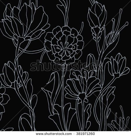 Floral background with Peony. Colorful flower pattern Vector illustration. - stock vector