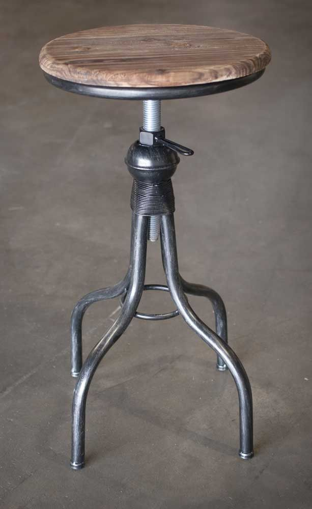 Adjustable Black Industrial Stool