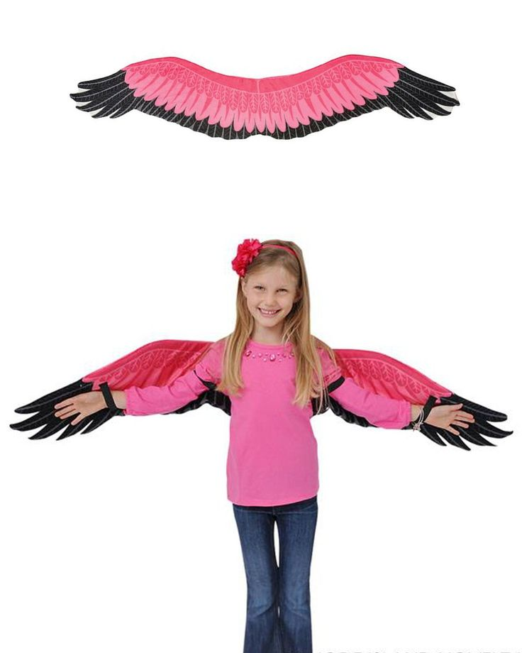 Childs Kids Pink Flamingo Bird Wings Costume Accessory