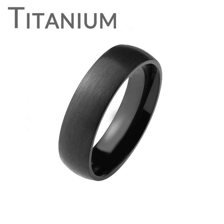 Dark As Night - Black Titanium Brushed Dome Ring