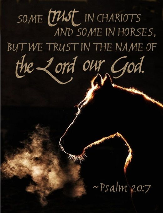 Psalm 20:7 some trust in chariots and some in horses but we will trust in the name of the Lord our God