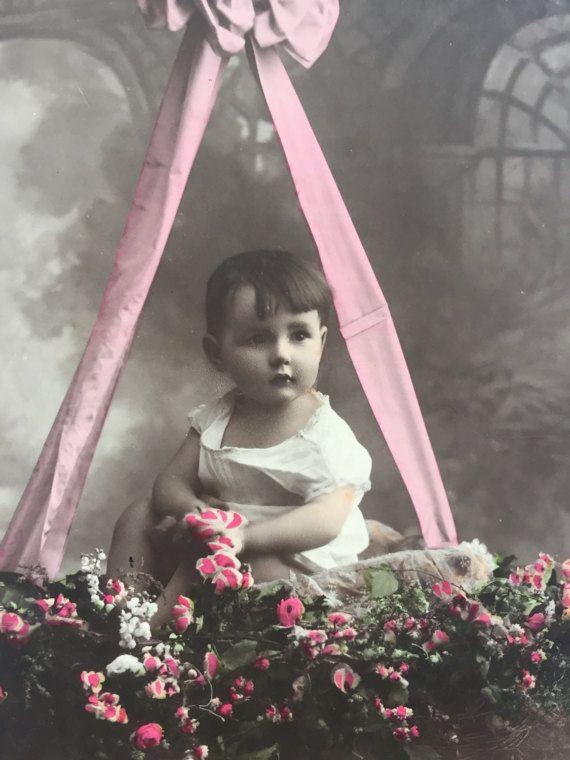 Baby boy hanging in flowery basket * Sweet little boy * Ponk ribbon * Antique French postcard