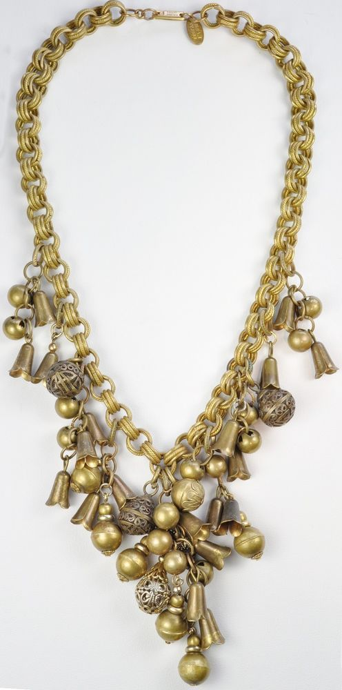 Vintage Signed Miriam Haskell Brass Necklace #MiriamHaskell