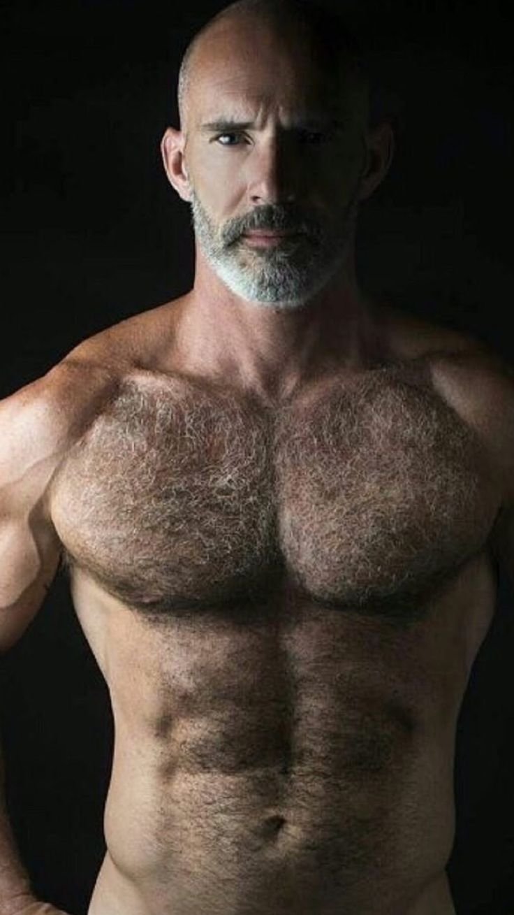 naked hairy muscular man