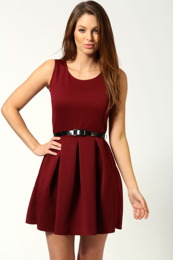 Julia Box Pleat Sleeveless Skater Dress