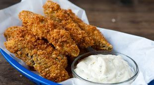 Fried Pickle Spear Recipe    Ingredients:  Pickle Spears,  Eggs,  Ranch Dressing Mix,  Flour,  Panko Bread Crumbs,   Buttermilk Ranch