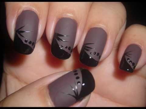 Nail Art - Gray Matte Polish with Black Design - Esmalte Mate - Diseño de Uñas