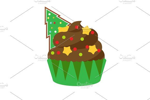 Christmas New Year cupcake by Bunny's Little Shop on @creativemarket