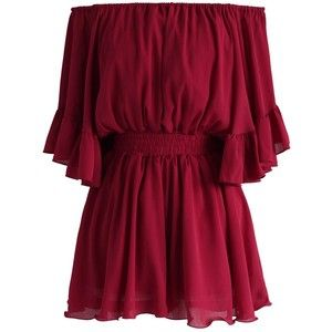 Chicwish Frill Like Dancing Off-shoulder Playsuit in Wine