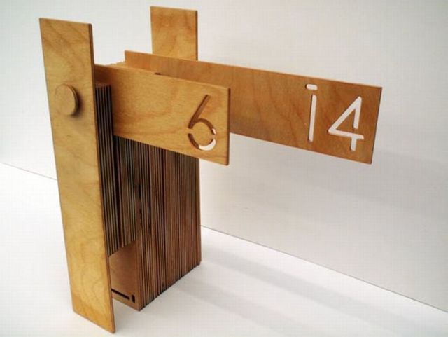 Another view of the wooden calendar.