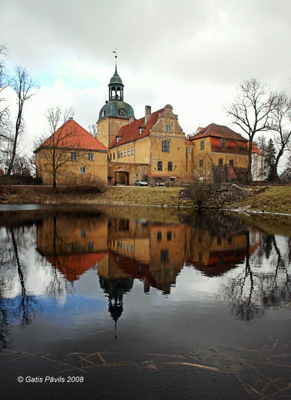 Lielstraupe medieval castle - view across the moat, from the south. Latvia