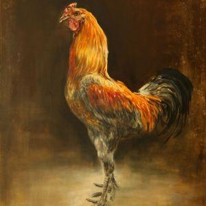 Belgische vechter, haan , kippenschilderij   Schilderijen - Nanouk Weijnen | Beeldend kunstenares