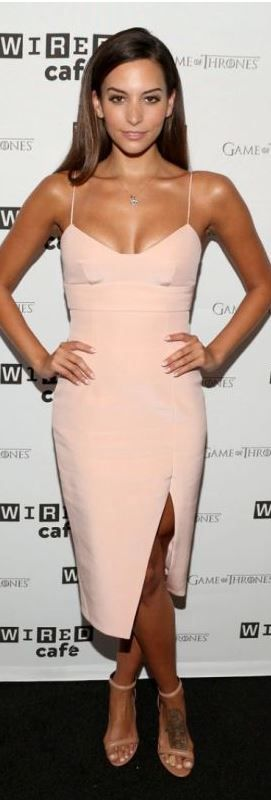 Who made Genesis Rodriguez's pink dress that she wore in San Diego