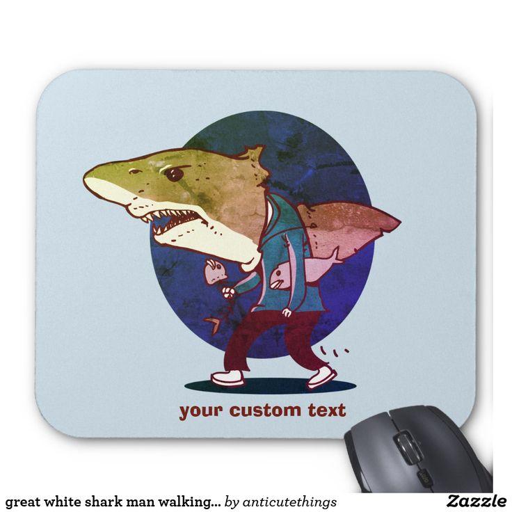 great white shark man walking funny cartoon #mousepad #computer #funny #internet #gift #greatwhite #whiteshark #shark #funny #cartoon #walkingman #cartoonshark