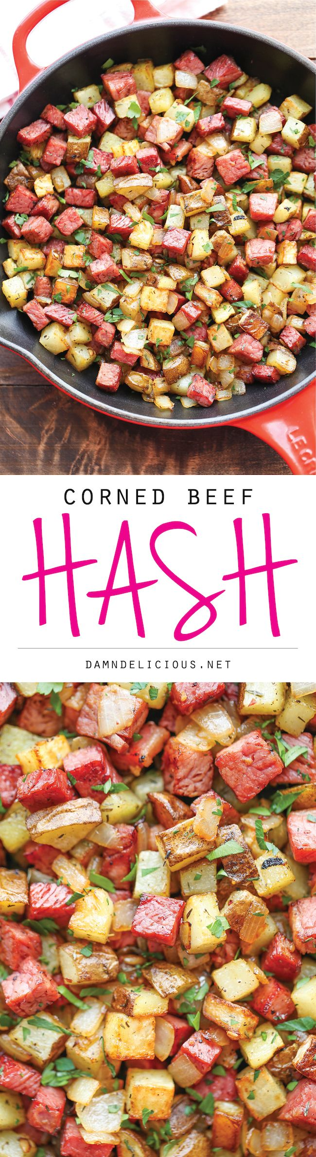 Corned Beef Hash - The most amazing no-fuss hash with roasted potatoes for that extra crispness. So good, you'll want this all day long, all year long!