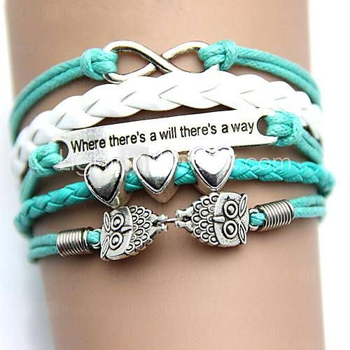 Owl with Letters Handmade Woven Pu Bracelet