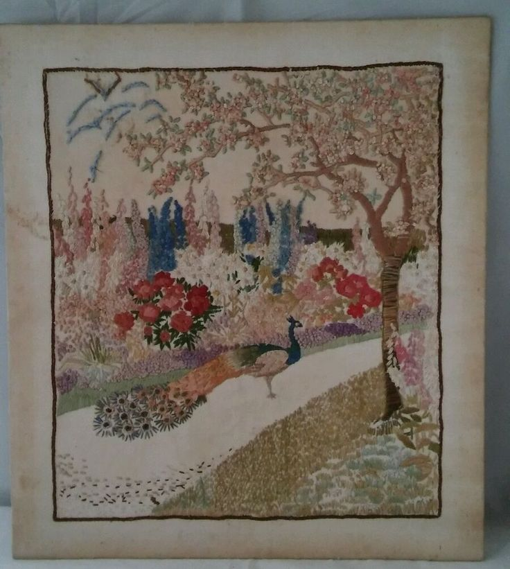 VINTAGE  HAND EMBROIDERED PICTURE OF A PEACOCK IN A COUNTRY GARDEN AS SEEN