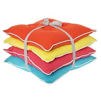 Set Of Four Multicoloured Seat Pads 45x45cm