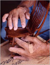 The hands of Sam Maloof - the plaster says it all - woodworker