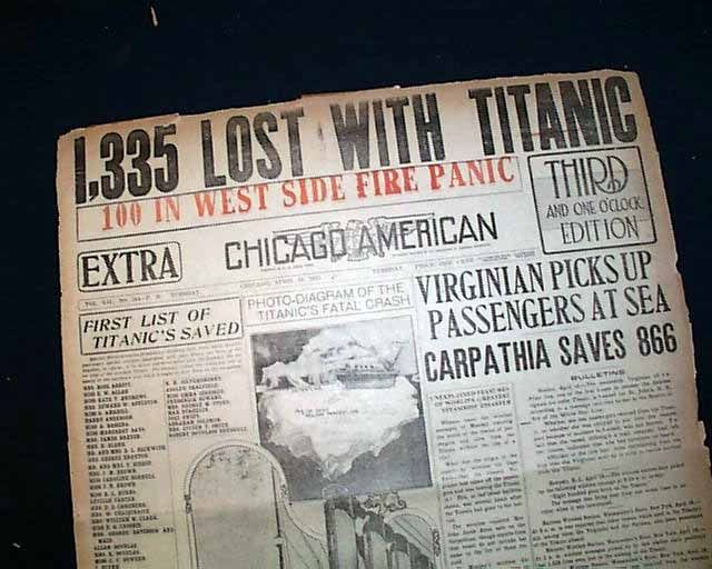 """Historic Newspaper - CHICAGO AMERICAN, Illinois, April 16, 1912  """"1,335 LOST WITH TITANIC"""" and  two front page graphics of the Titanic, one captioned: """"According to the dispatches the bow of the Titanic was torn away as far back as the first collision bulkhead."""""""