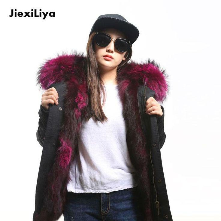 Kızlar için 2016 Moda gerçek kürk parkas kış büyük rakun kürk kapşonlu coat lüks sıcak fox kürk astar kısa ceket kaliteli(China (Mainland))