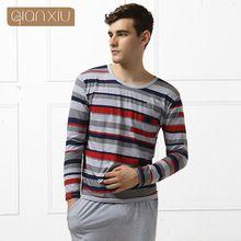 Qianxiu бренд мужской пижамы удобная о-образным вырезом мода споткнуться шаблон(China (Mainland))