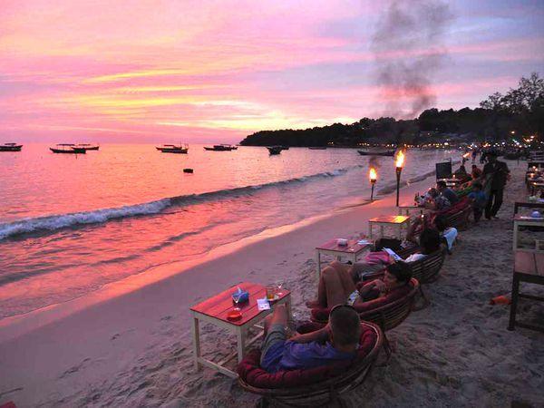 Ochheuteal Beach, a seaside resort area on southern Cambodia's Sihanoukville peninsula