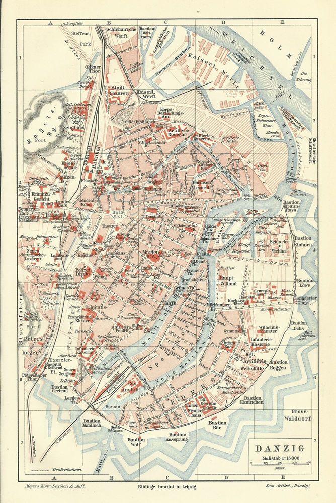 München Stadtplan Lithographie 1896 alte historische Stadtkarte