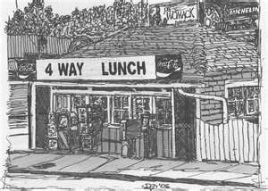 A view of the Four Way Lunch restaurant in Cartersville, GA.