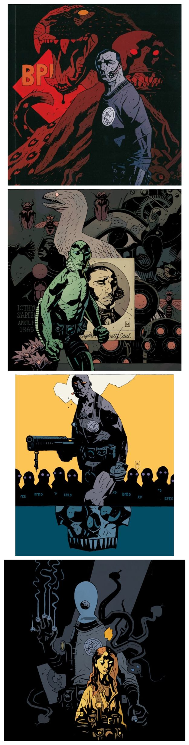 The Bureau for Paranormal Research and Defense Agents: Ben Daimio, Abe Sapien, Roger the Homunculus, Johann Kraus and Liz Sherman. Art by Mike Mignola.