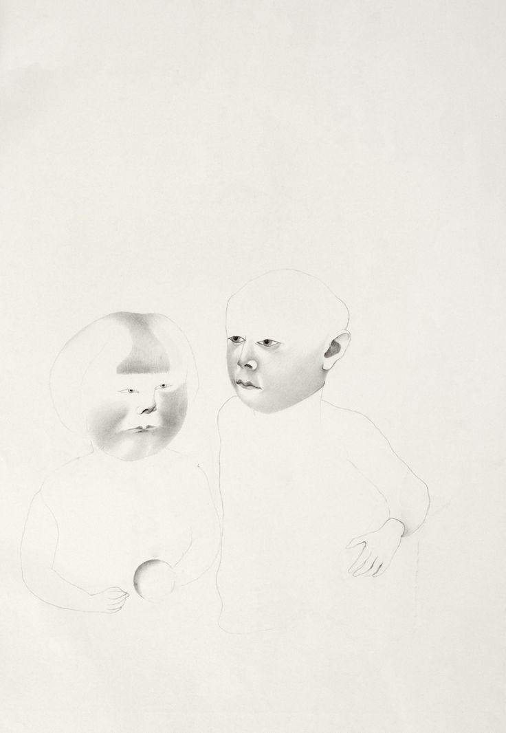 © Vlasta Vostřebalová Fischerová - Dvě děti, z cyklu Děti z okolí Prahy (1927–1929), kresba tužkou, Galerie umění Karlovy Vary