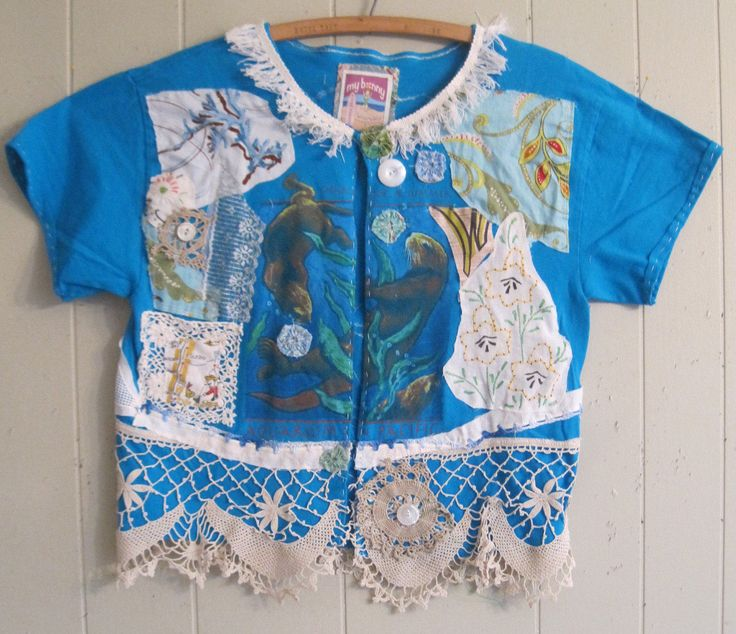 MyBonny  SEA AQUARIUM  altered t SHIRT retro kitsch  - antique vintage linens crochet embroidery lace  Patchwork Fabric Collage Wearable Folk Art