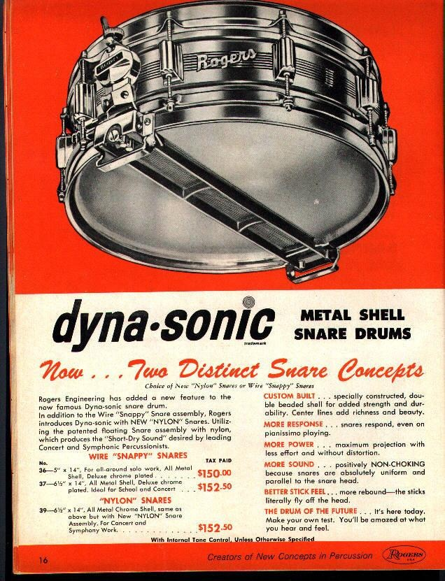 Rogers Dyna-Sonic- THE MOST POPULAR SNARE DRUM OF THE 60'S, AND THE BEST TOO!