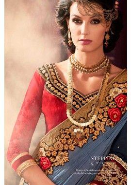 rouge georgette saree, - 152,00 €, #RobeDeSoiréeD'usure #IndienneSari #Sari en ligne #Shopkund