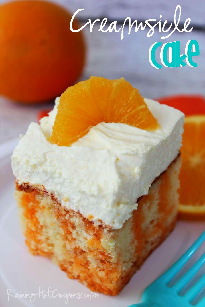 Creamsicle Cake  Ingredients: 1 White Cake Mix 3 Eggs 1/3 cup Oil 1 cup Orange Juice 1 package Orange Jell-O 1/2 cup boiling Water 1/2 cup cold Water 1 package Instant Vanilla Pudding Mix 1 cup Milk 1 tsp Vanilla 8 oz Cool Whip
