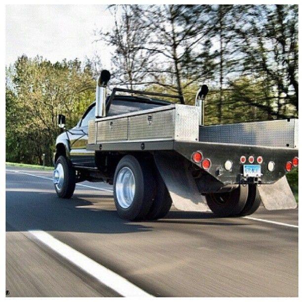 www.DieselTruckGallery.com dual stacks flat bed diesel truck