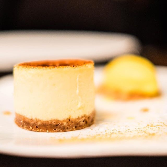 """""""Life is uncertain. Eat dessert first."""" Enerstine Ulmer - Today's dessert is a Crème brulée au fromage, sorbet mandarine at Le George"""