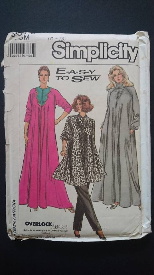 722c0475bf Small Robe or CAFTAN Simplicity 8875- UNCUT- poolside or beach glamour- wear  it at home think double knits , fleece, terry or velour. by StarletPatterns  on ...