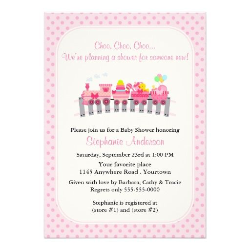 pink toy train baby shower card